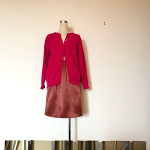 Vintage Raspberry Midi Satin Skirt